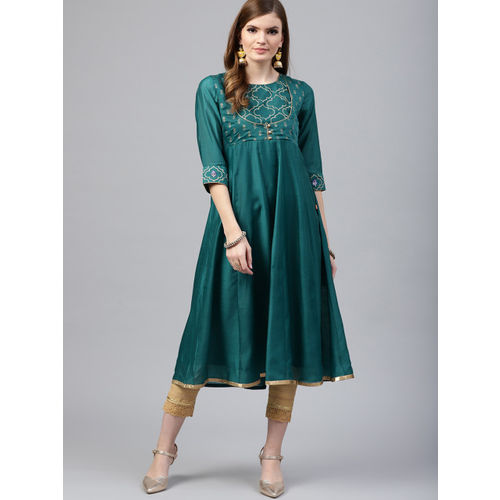 Juniper Women Teal Greeen Embroidered Koti-Style Anarkali Kurta