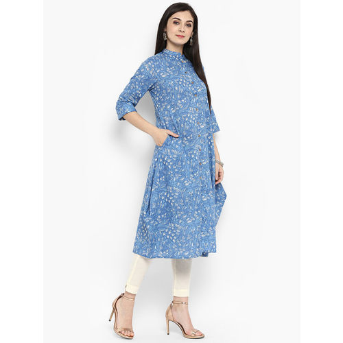 Juniper Women Blue Printed Straight Kurta