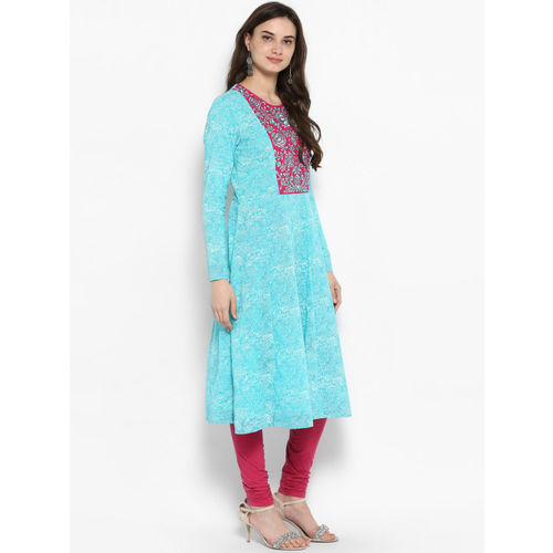 Juniper Women Turquoise Blue & Magenta Embroidered Anarkali Kurta
