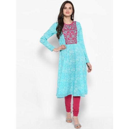 Juniper Women Turquoise Blue & Magenta Embroidered Anarkali Kurta