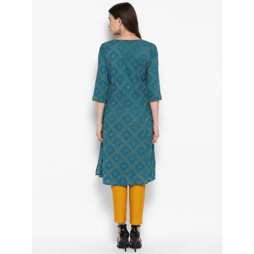 Juniper Women Teal & White Embroidered Bandhani A-Line Kurta