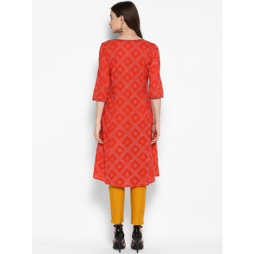 Juniper Women Coral & White Embroidered A-Line Kurta