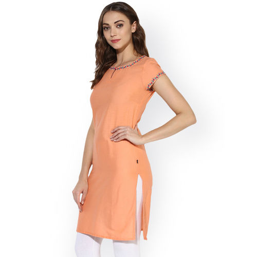 Juniper Women Peach-Coloured Solid A-Line Kurta