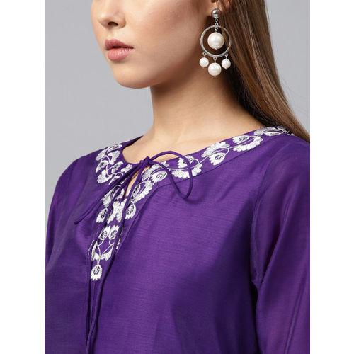 Juniper Women Purple Yoke Design A-Line Kurta