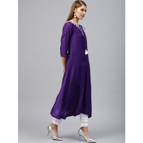 Juniper Women Purple Yoke Design A-Line Kurta