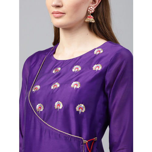 Juniper Women Purple A-Line Kurta with Embroidery