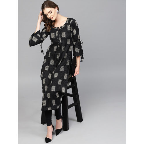 GERUA Black Cotton Casual Printed Straight Kurta