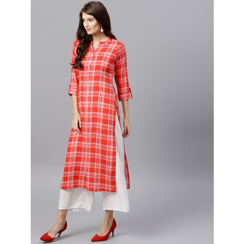 GERUA Women Red & Off-White Checked Straight Kurta