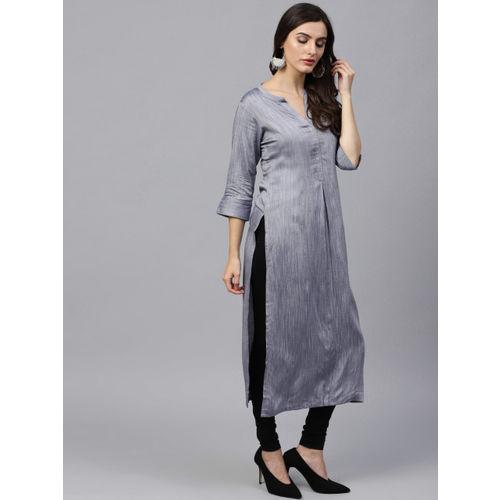 GERUA Women Grey Solid Straight Kurta