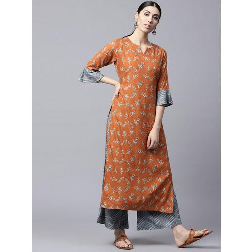 GERUA Women Rust Orange & Grey Printed Kurta with Palazzos