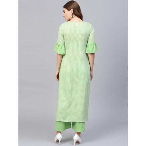 GERUA Women Green & White Striped Kurta with Palazzos