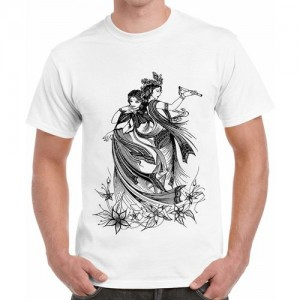f606d786 Double F DOUBLE F ROUND NECK HALF SLEEVE WHITE COLOR RADHA KRISHNA PRINTED T -SHIRTS
