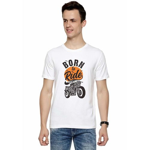 Double F DOUBLE F ROUND NECK HALF SLEEVE WHITE COLOR BORN TO RIDE PRINTED T-SHIRTS