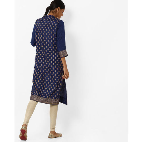 Melange by Lifestyle Women Blue Solid Straight Denim Kurta