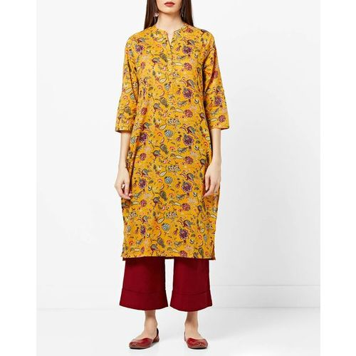 Melange By Lifestyle Floral Print Straight Kurta with Notched Collar