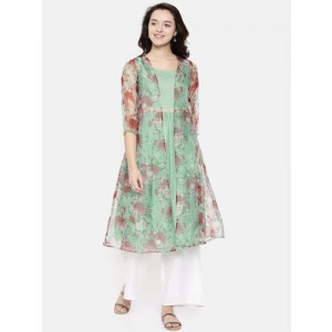 Melange by Lifestyle Women Green & Maroon Printed A-Line Kurta