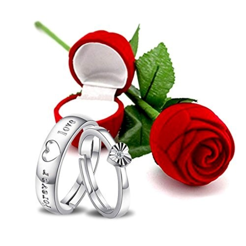Peora Hamper of Couple Ring with Red Rose Gift Box