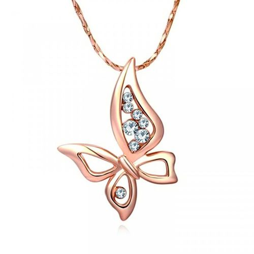 Om Jewells Rose Gold Plated Enchanting Crystals Wispy Butterfly Pendant Necklace Women Girls PD100081