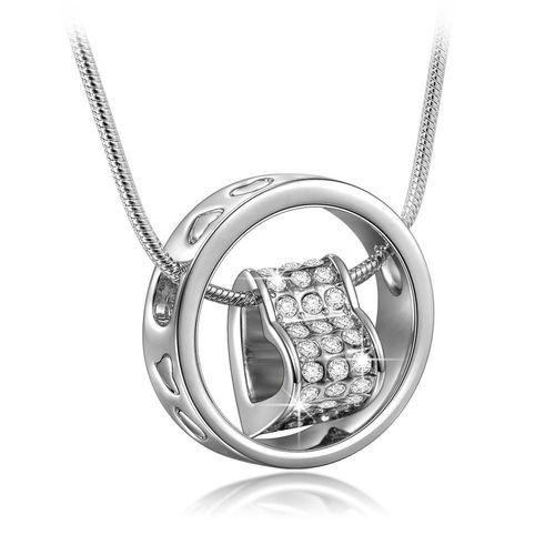 Om Jewells Silver Rhinestone Heart In Love Ring Pendant For Women Pd1000809C