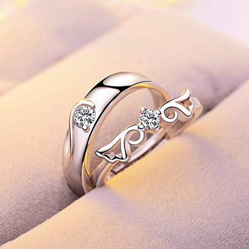 Popmode Solid Centre Solitaire Girls Feathre Design Adjustable Couple Ring