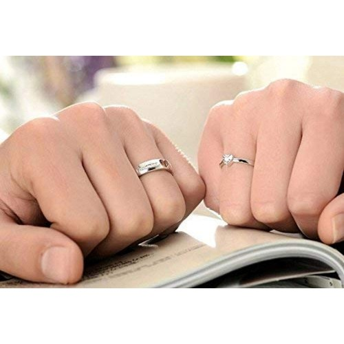 Peora Forever Austrian Crystal Love Adjustable Silver Metal Couple Ring