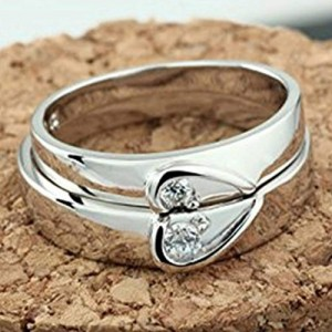 2986f3414d Peora 925 Sterling Silver 2 Pcs His and Her Heart Shape Matching Adjustable Promise  Wedding Ring