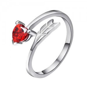 Om Jewells Rhodium Plated Blush Red Love Heart Arrow Adjustable Ring Beautified with CZ Stone for Girls FR1000907