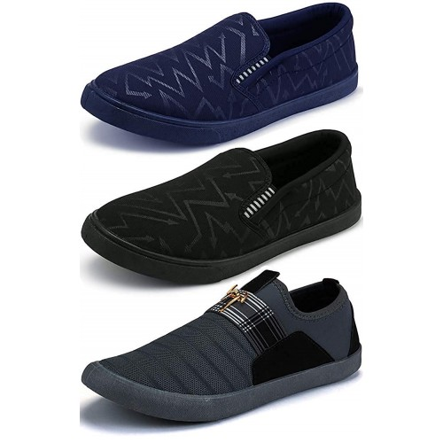 Ethics Multicolour Canvas Slip On Loafers Shoes Combo