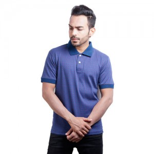 Yoso Men s Blue Printed Cotton Polo T-Shirt a4306dd67f5