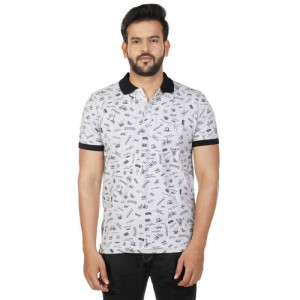 27Ashwood Men's Grey Printed Polo T-Shirt