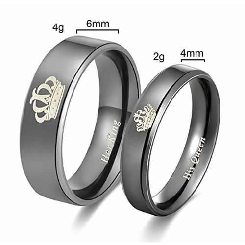 2pcs Moneekar Jewels High Quality Her King His Queen Titanium Stainless Steel Black Wedding Band Set Anniversary Engagement Promise Friendship valentines day