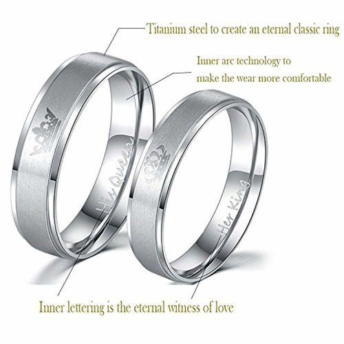 Moneekar Jewels 2PCS Her King/His Queen Silver Titanium Stainless Steel Laser Inscribed Crown Couple Rings for Lovers(PLEASE SELECT MEN & WOMEN PAIR SIZE FROM