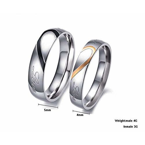 YouBella Heart Shape Stainless Steel Never Fading Couple Rings for Men and Women