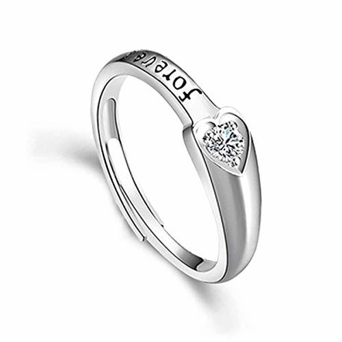 Sansar India Silver Metal Forever Love You Couple Adjustable Ring for Men and Women