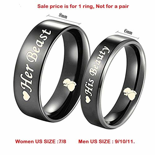 Moneekar Jewels His Beauty/Her Beast Love Heart Black Titanium Engagement Wedding Bands Promise Ring (Sale Price is for 1 Ring ONLY)