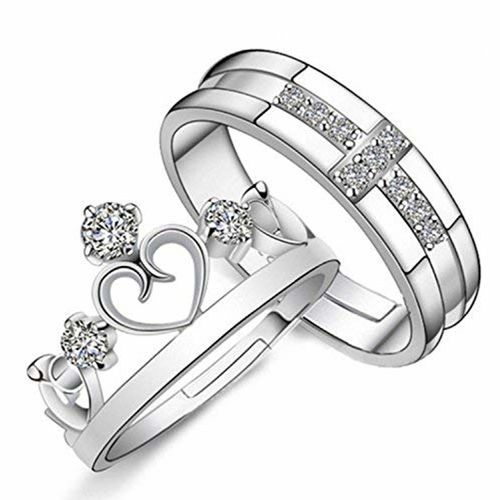Peora Crown Elegant Adjustable 925 Sterling Silver Plated Promise Wedding Band Set Anniversary Engagement Couple Rings for Lovers