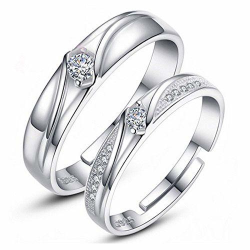 Moneekar Jewels Silver Plated Cubic Zirconia Unisex Wedding Rings - Set of 2