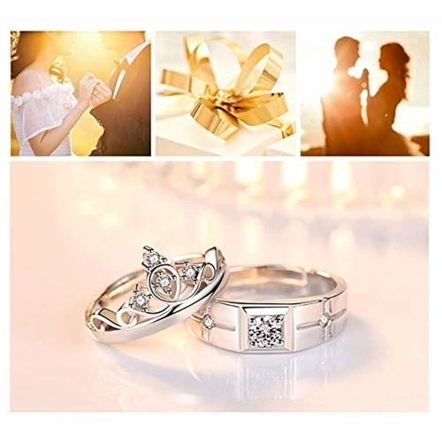Via Mazzini Love Birds Crystal Proposal Couple Rings for Men and Women (Ring0189)