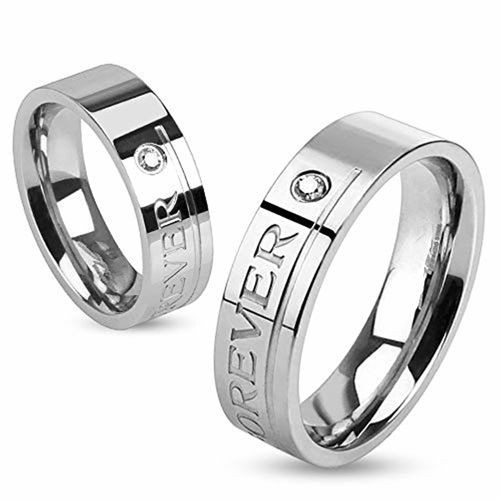 Via Mazzini Stainless Steel Connected Hearts Crystal Couple Ring