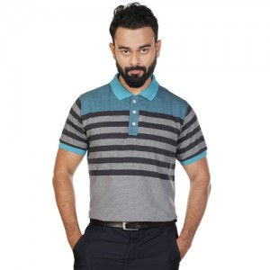 27Ashwood Men's Grey Striped Polo T-Shirt