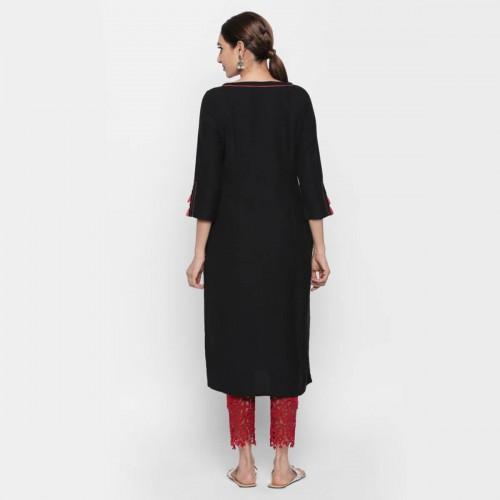 naari NAARI Black Viscose Printed Stitched Kurti