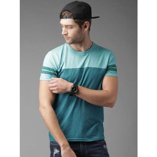 29K Blue Cotton Self Design Round Neck T-shirt