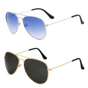 Royal Son Black Aviator and Blue Aviator Unisex Sunglasses Combo