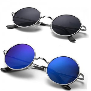 Code Yellow Blue & Black UV Protection Round Sunglasses