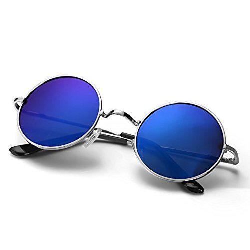 Code Yellow Blue & Black UV Protection Round Sunglasses