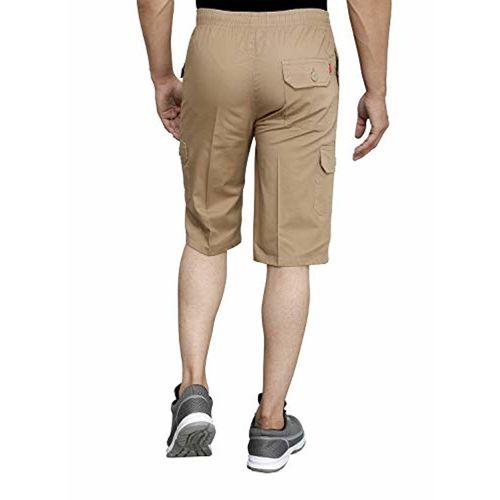 Sapper Mens Cotton Three Fourth Capri Shorts with Cargo Pockets(Beige, Mustard)