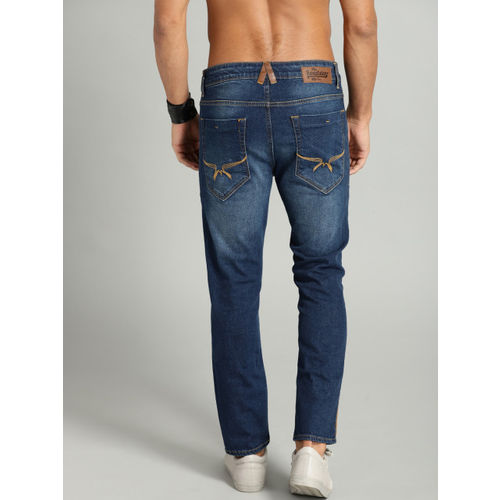Roadster Men Blue Skinny Fit Mid-Rise Clean Look Cropped Jeans