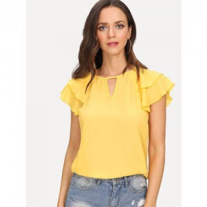 61c76deae6957f Code Yellow Women s Yellow Solid Double Layer Bell Sleeves Crepe Top TEE-09
