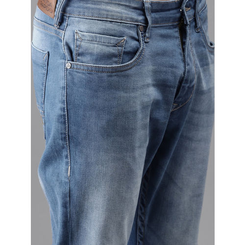 Moda Rapido Men Blue Slim Fit Mid-Rise Slash Knee Stretchable Cropped Jeans