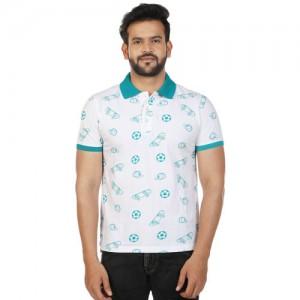 27Ashwood Men's Reguar Fit White Printed Polo T-Shirt